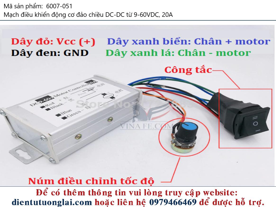 Mạch điều khiển động cơ đảo chiều DC-DC từ 9-60VDC, 20A